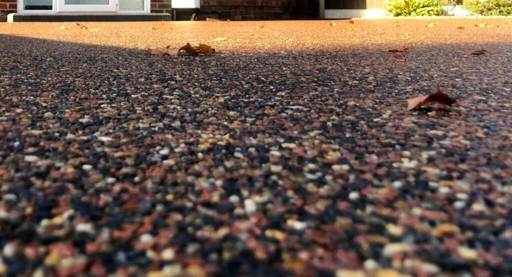 close up of a resin driveway